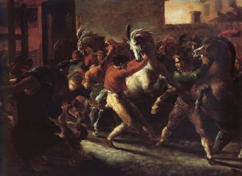 Theodore   Gericault Study to the race of the wild horses